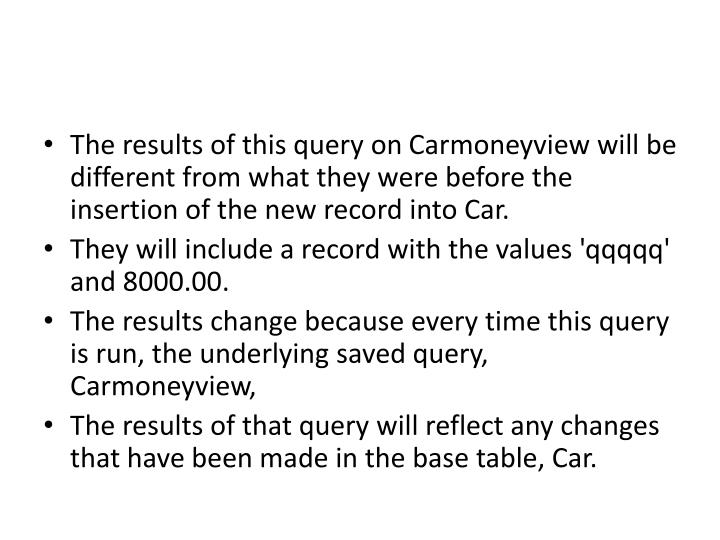 The results of this query on