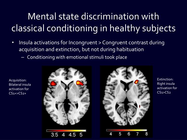 Mental state discrimination with classical conditioning in healthy subjects