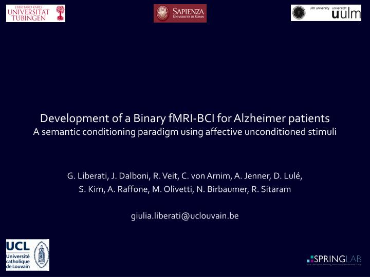 Development of a Binary fMRI-BCI for Alzheimer patients