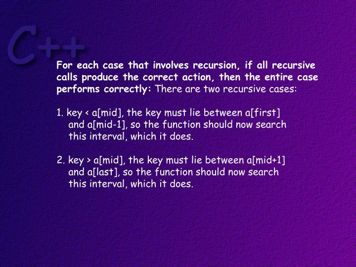 For each case that involves recursion, if all recursive