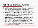 activities honors awards