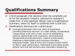 qualifications summary
