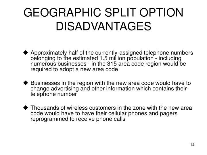 GEOGRAPHIC SPLIT OPTION DISADVANTAGES