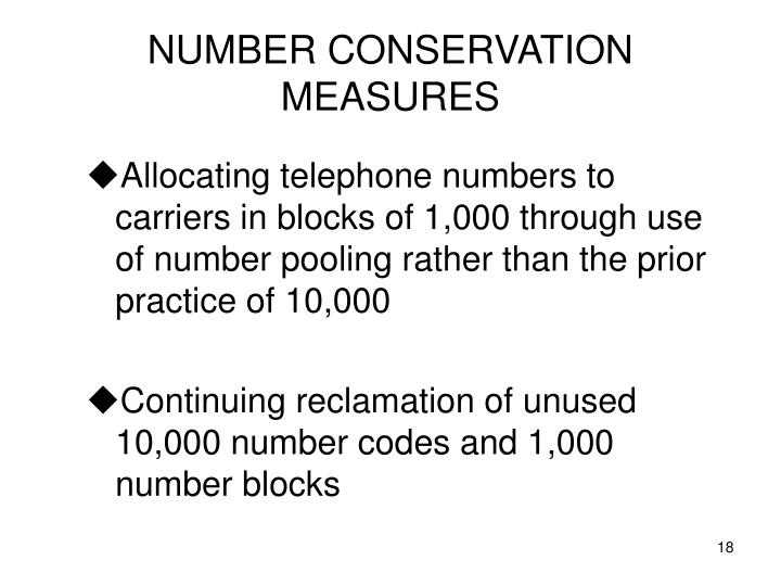 NUMBER CONSERVATION MEASURES