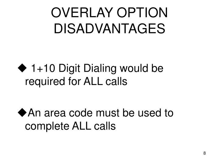 OVERLAY OPTION DISADVANTAGES