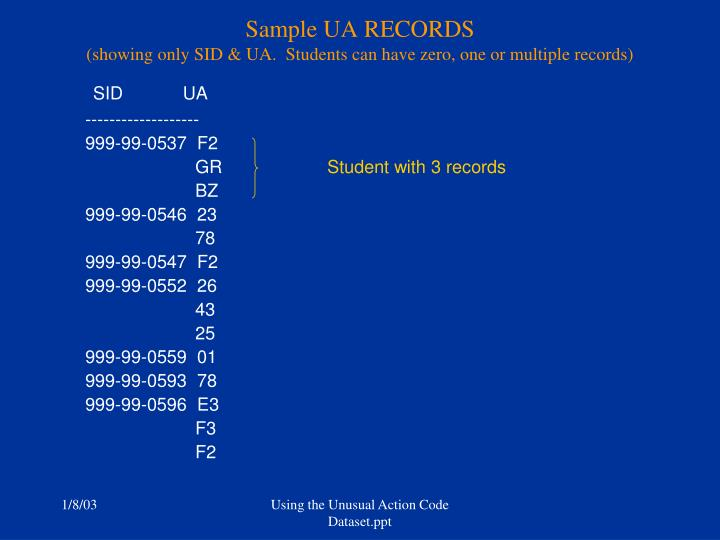 Sample UA RECORDS