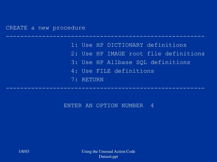CREATE a new procedure