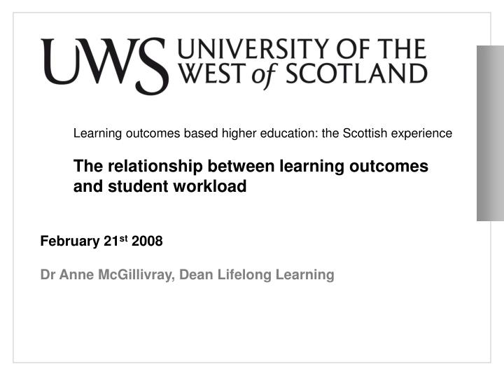 Learning outcomes based higher education: the Scottish experience