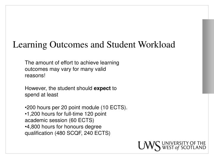 Learning Outcomes and Student Workload