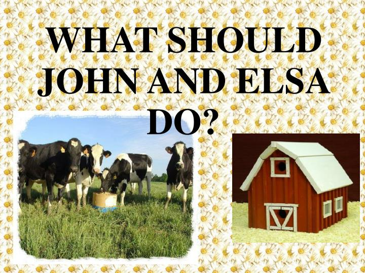 WHAT SHOULD JOHN AND ELSA DO?