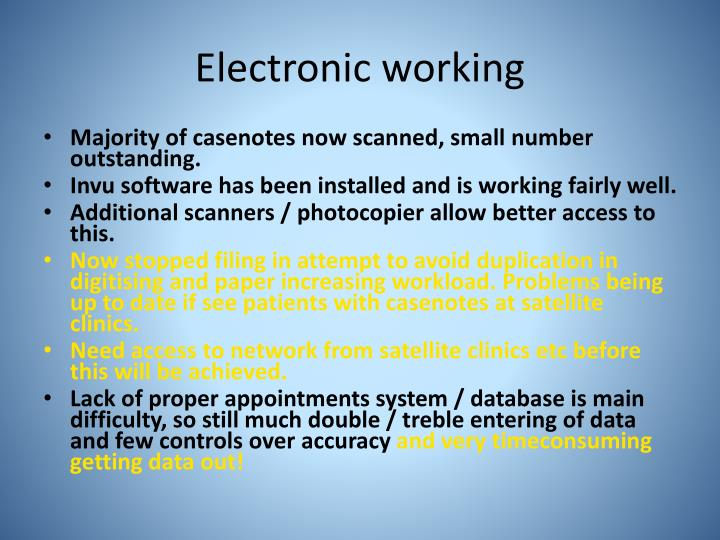 Electronic working
