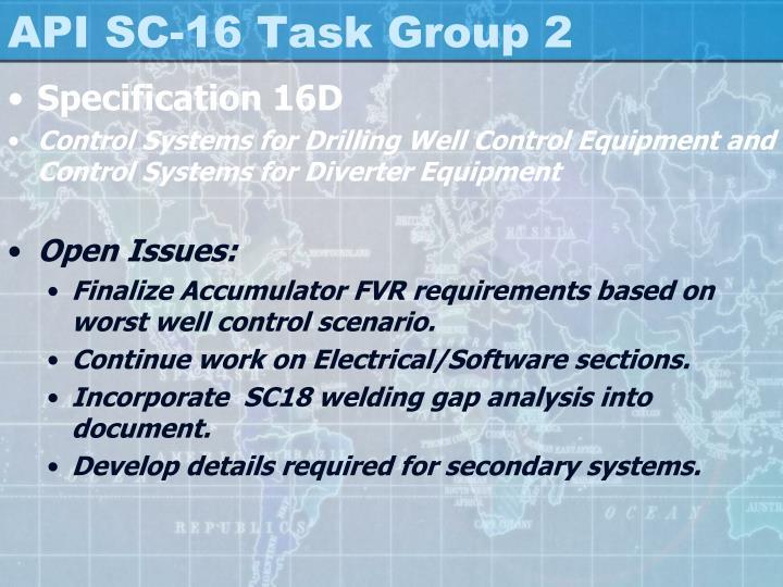 API SC-16 Task Group 2