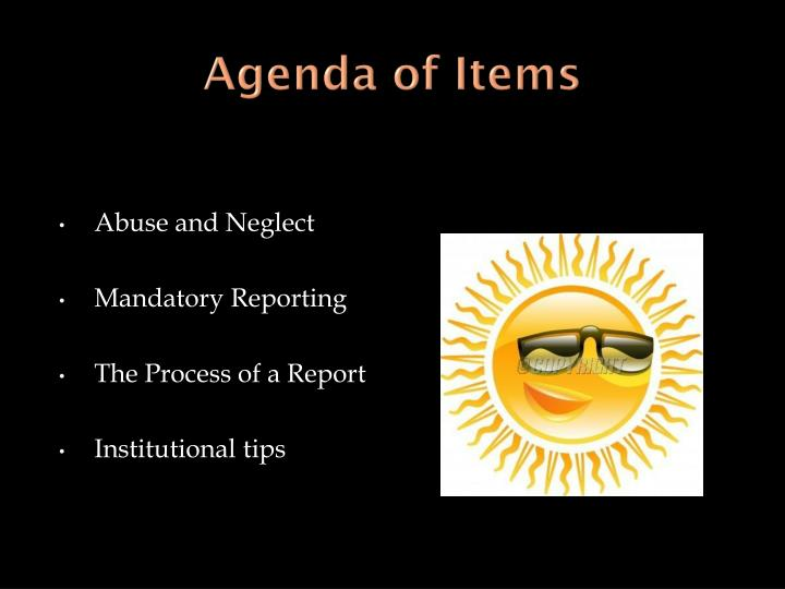 Agenda of items