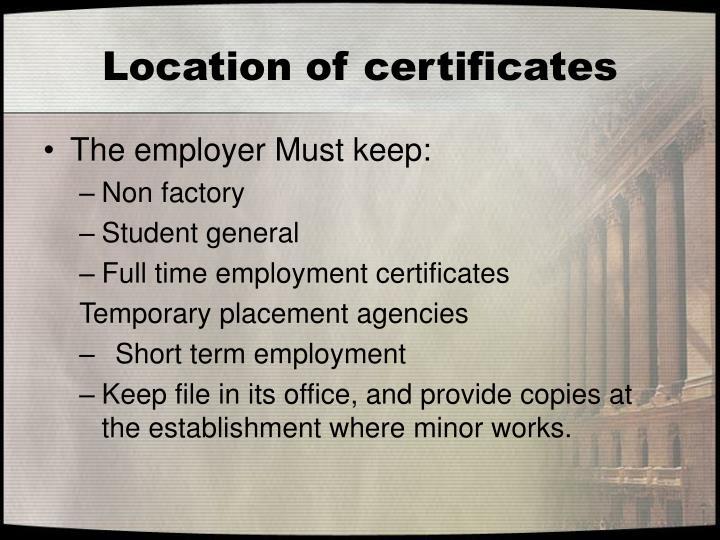 Location of certificates