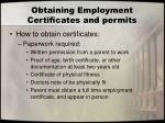 obtaining employment certificates and permits