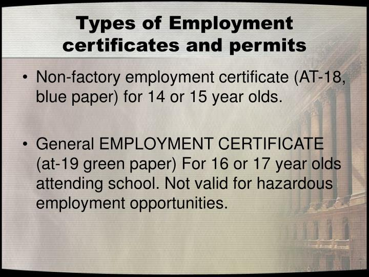 Types of Employment certificates and permits