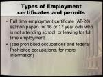 types of employment certificates and permits1