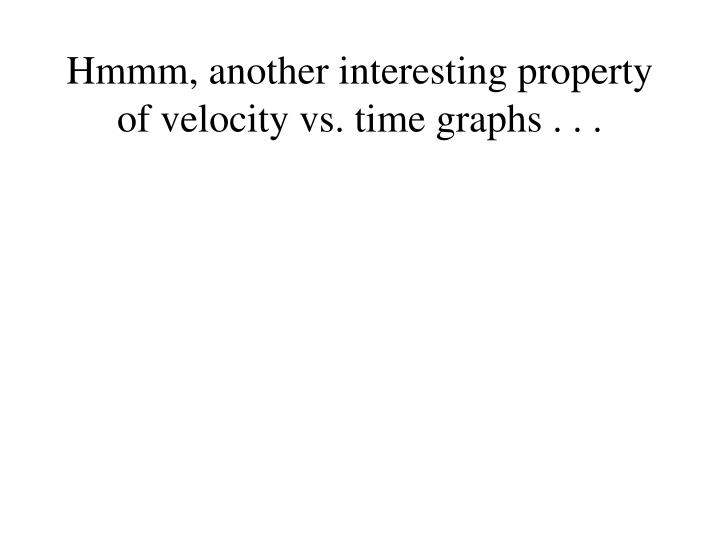 Hmmm, another interesting property of velocity vs. time graphs . . .