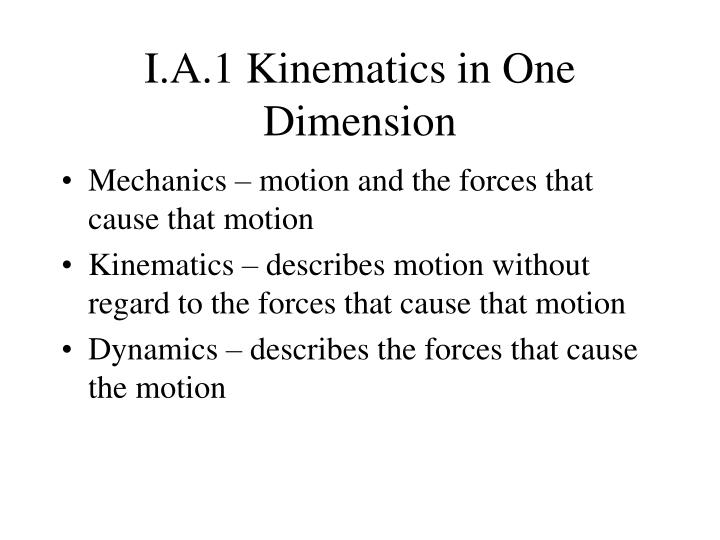 I a 1 kinematics in one dimension