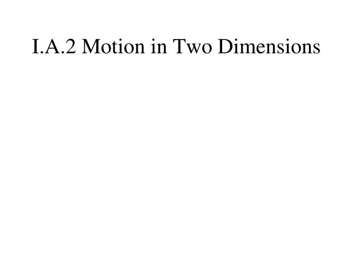 I.A.2 Motion in Two Dimensions