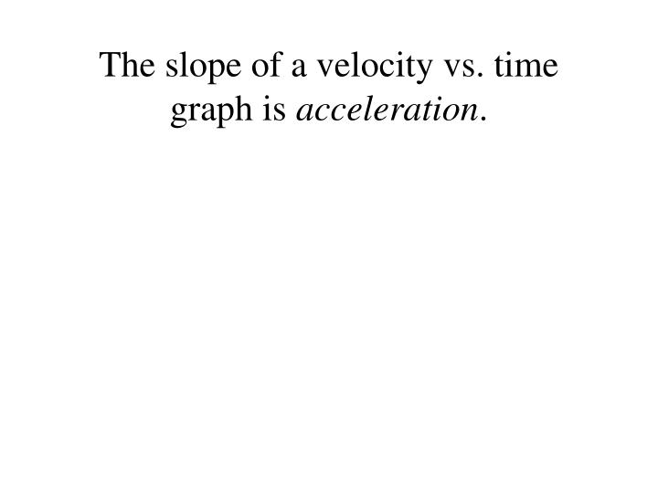 The slope of a velocity vs. time graph is