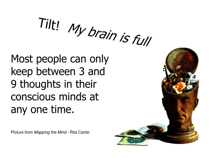 Most people can only keep between 3 and 9 thoughts in their conscious minds at any one time.