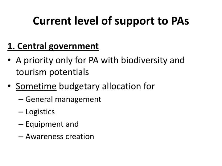 Current level of support to PAs