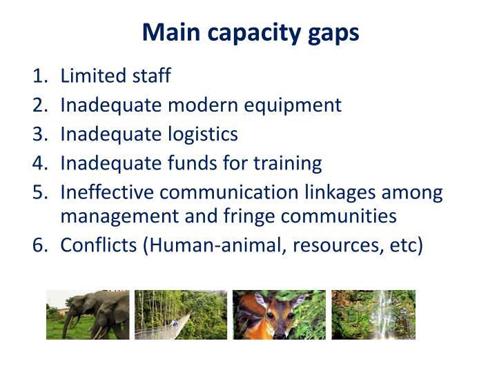 Main capacity gaps