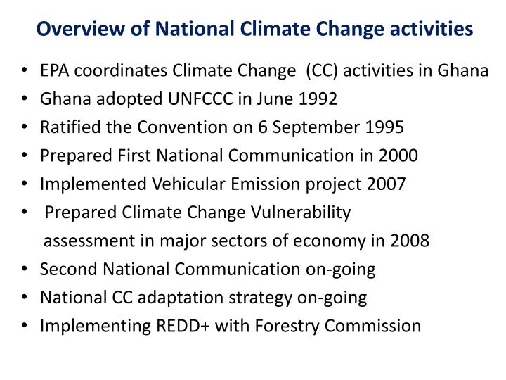 Overview of National Climate Change activities