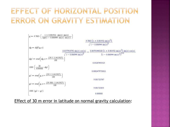Effect of Horizontal Position Error on Gravity Estimation