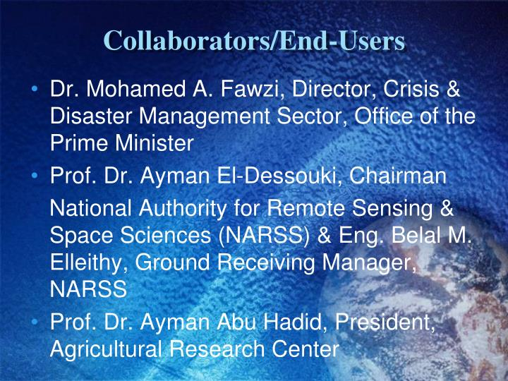Collaborators/End-Users