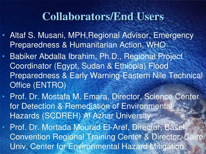 Collaborators/End Users