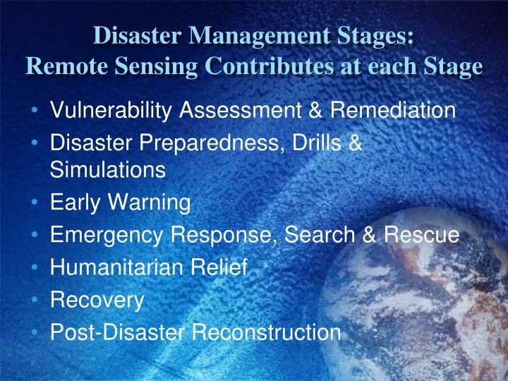 Disaster Management Stages: