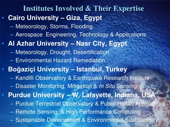 Institutes Involved & Their Expertise
