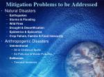 mitigation problems to be addressed