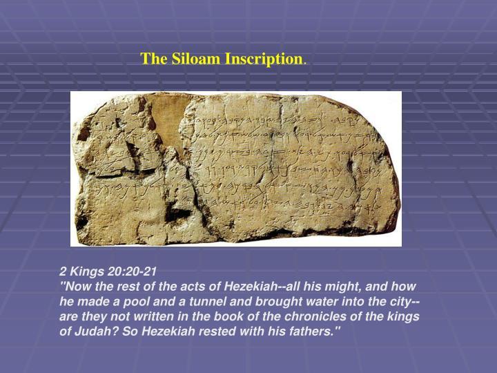 The Siloam Inscription