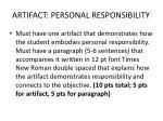 artifact personal responsibility