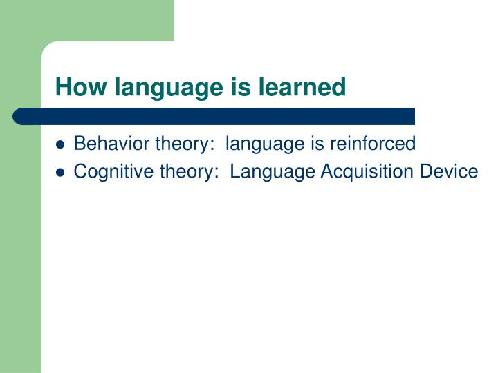 How language is learned
