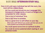 9 27 2012 afternoon study hall