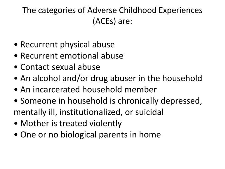The categories of adverse childhood experiences aces are