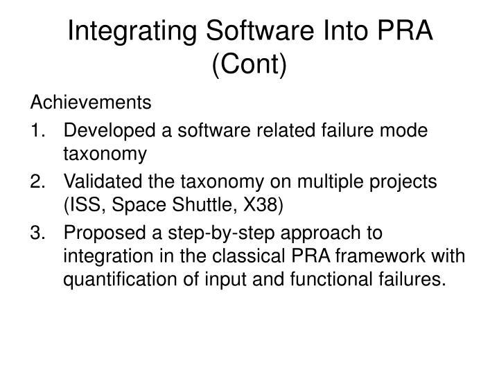 Integrating Software Into PRA (Cont)