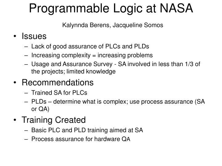 Programmable Logic at NASA