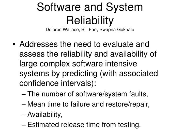 Software and System Reliability