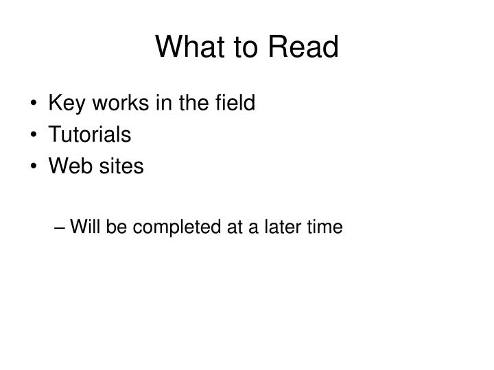 What to Read