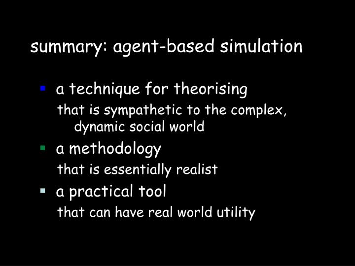 summary: agent-based simulation