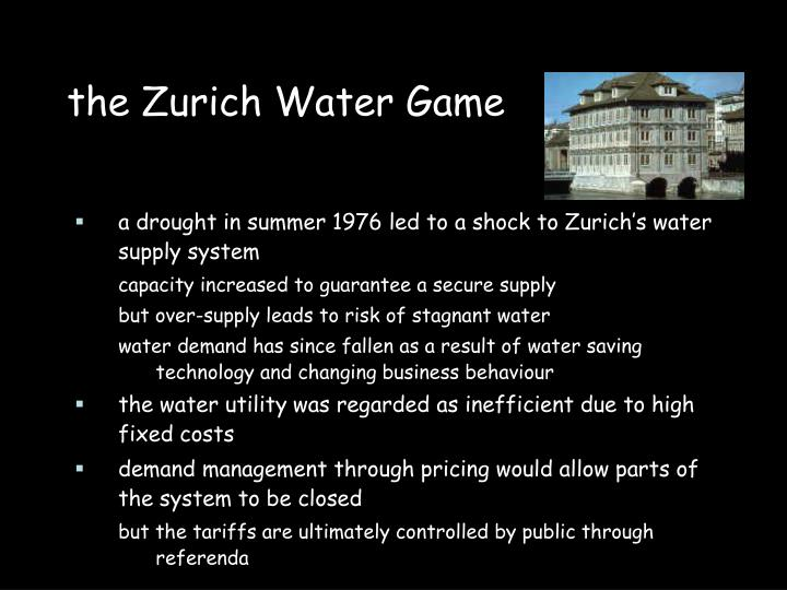 the Zurich Water Game