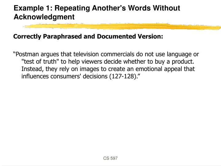 Example 1: Repeating Another's Words Without Acknowledgment