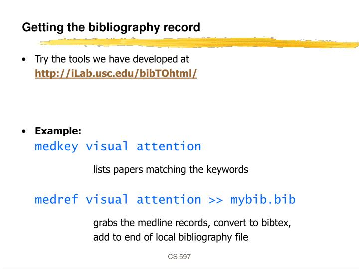 Getting the bibliography record