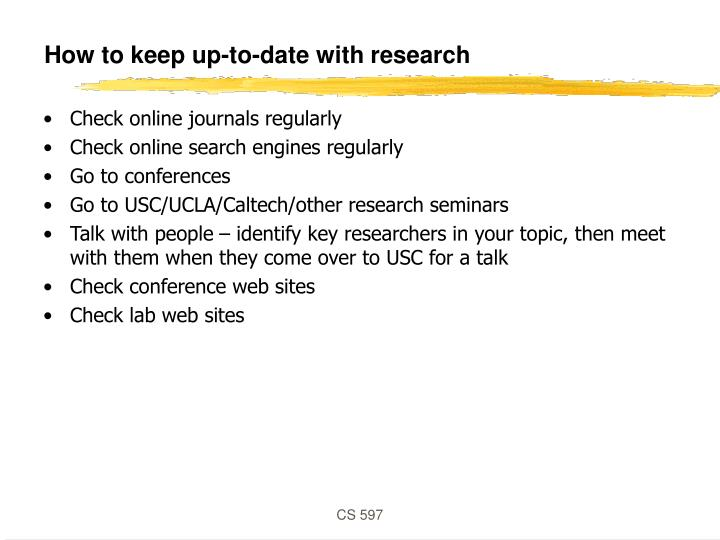 How to keep up-to-date with research