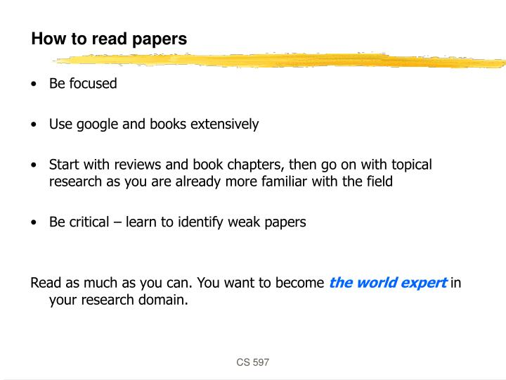 How to read papers
